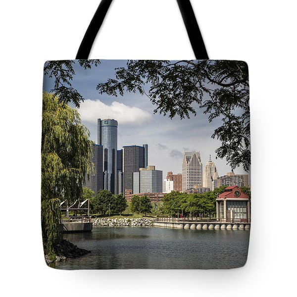 Detroit Skylin And Marina  Tote Bag