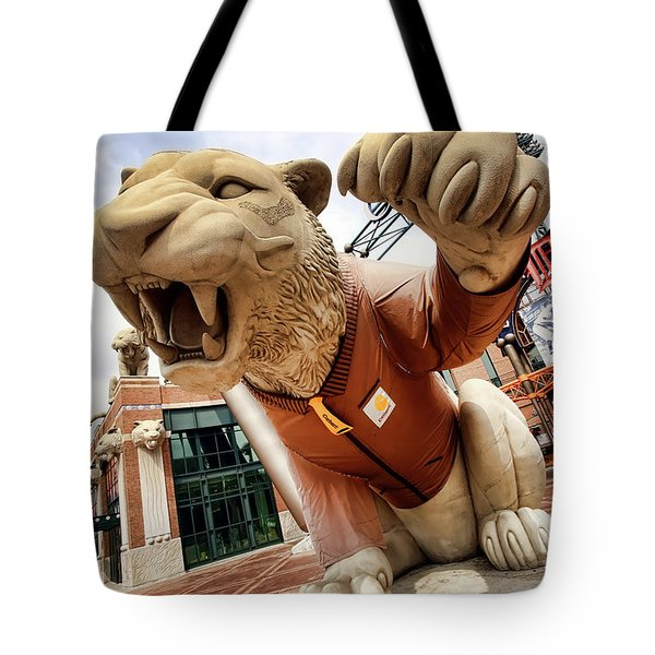 Detroit Tigers Tiger Statue Outside Of Comerica Park Detroit Michigan Tote Bag by Gordon Dean II