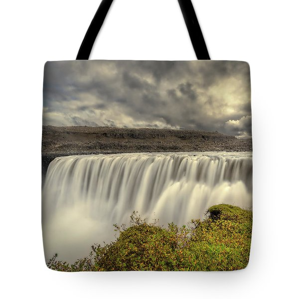 Tote Bag featuring the photograph Dettifoss Before The Storm by Rikk Flohr