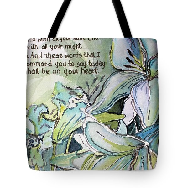 Tote Bag featuring the painting Deuteronomy 6 5-6 by Mindy Newman