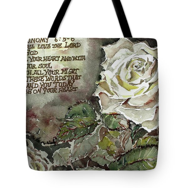 Tote Bag featuring the painting Deuteronomy 6 by Mindy Newman