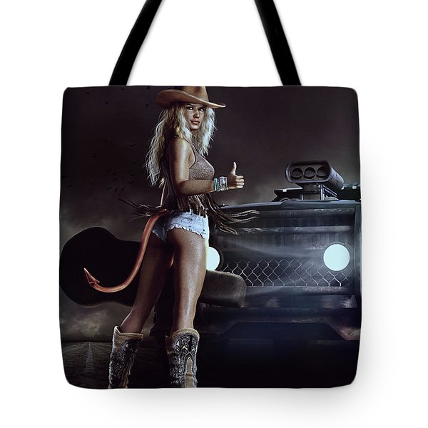 Tote Bag featuring the digital art Devil In Blue Jeans by Shanina Conway