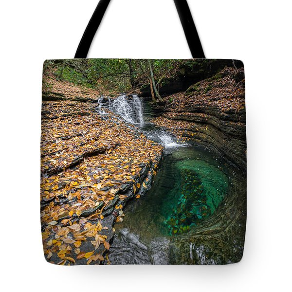 Tote Bag featuring the photograph Devils Bathtub Cascade by Serge Skiba
