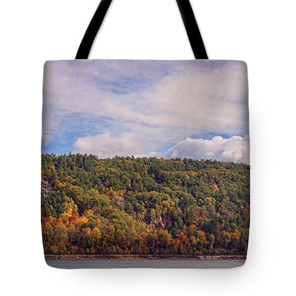 Devil's Lake Autumn Text. Tote Bag
