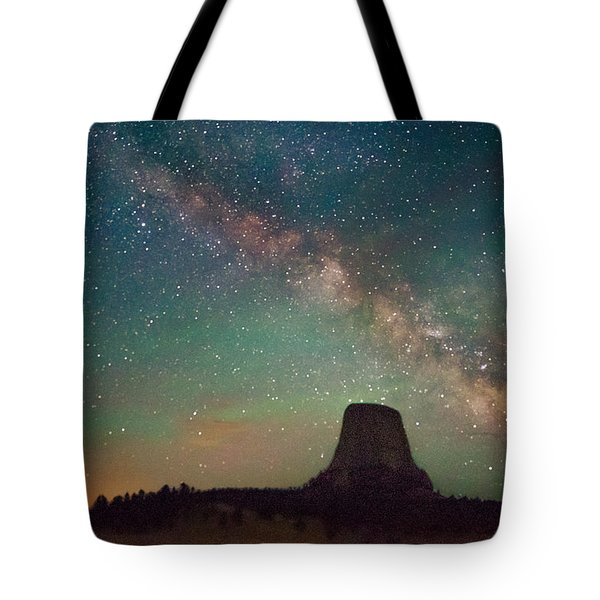 Devils Tower Lights Tote Bag