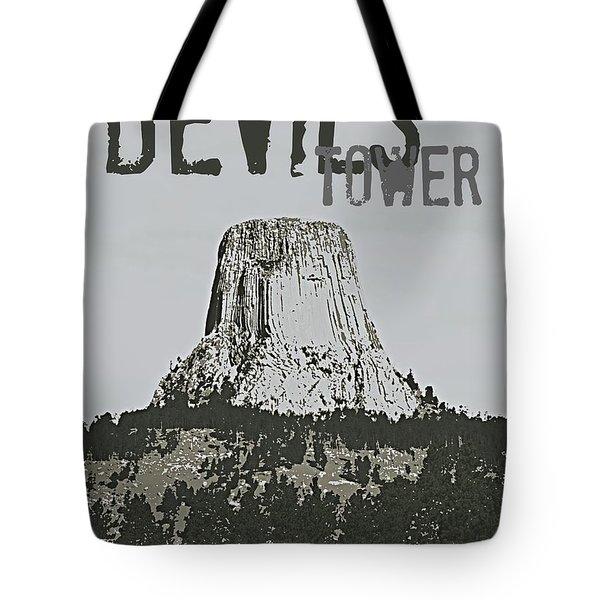 Devils Tower Stamp Tote Bag