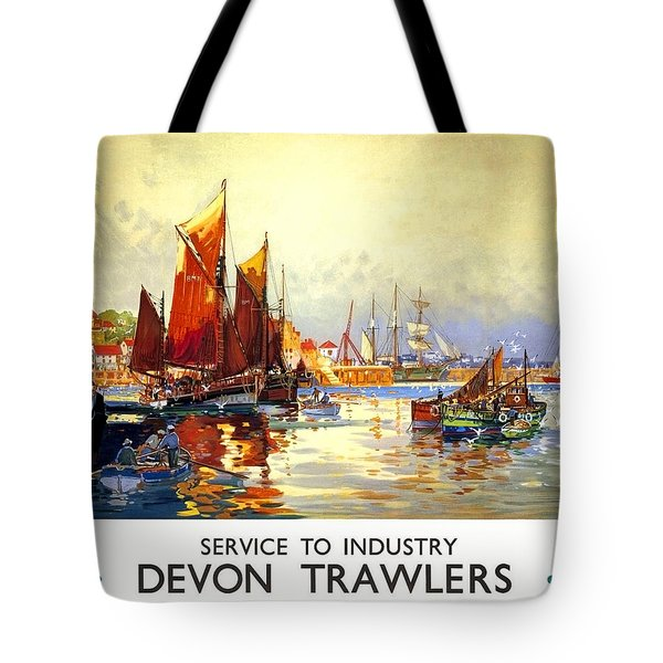 Devon Port, Sailing Boats, United Kingdom, Travel Poster Tote Bag