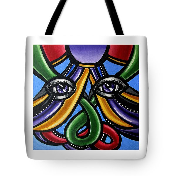 Colorful Contemporary Canvas Painting, Eyeball Artwork, Colorful Modern Art                       Tote Bag