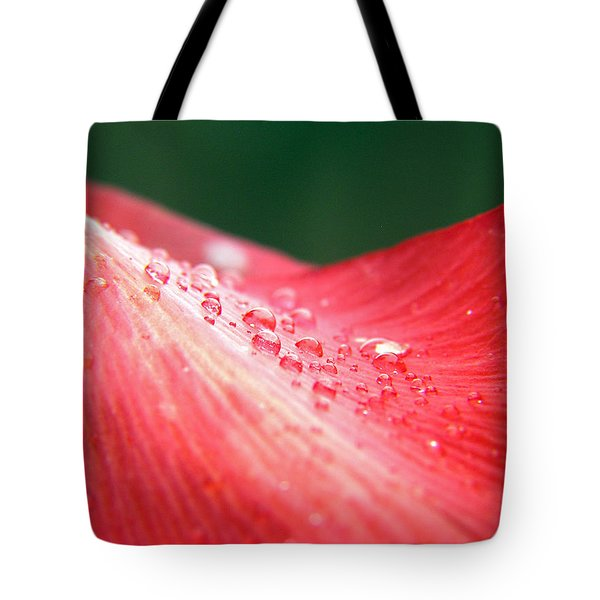 Dew Drops On A Wave Of Red Tote Bag