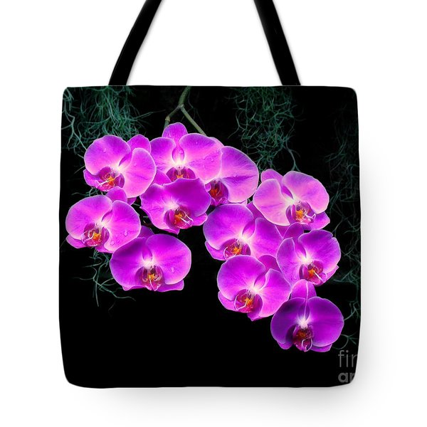 Tote Bag featuring the photograph Dew-kissed Orchids by Sue Melvin