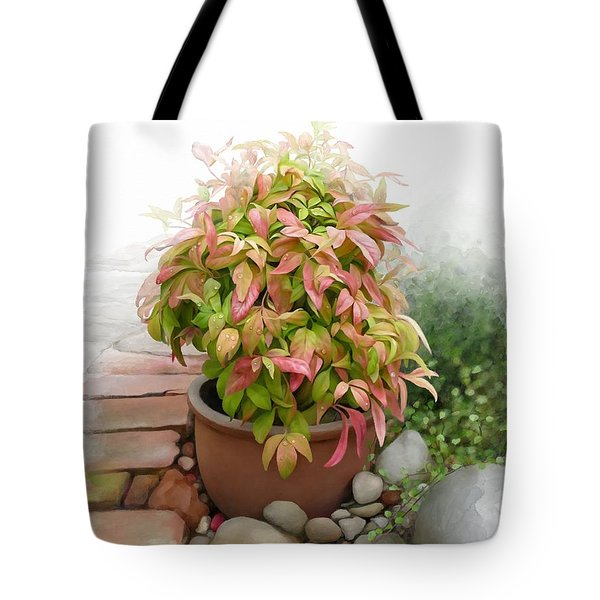 Tote Bag featuring the painting Dew On Leaves by Ivana Westin