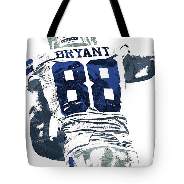 Tote Bag featuring the mixed media Dex Bryant Dallas Cowboys Pixel Art 6 by Joe Hamilton
