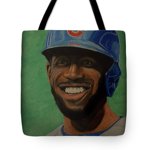 Tote Bag featuring the drawing Dexter Fowler Portrait by Melissa Goodrich