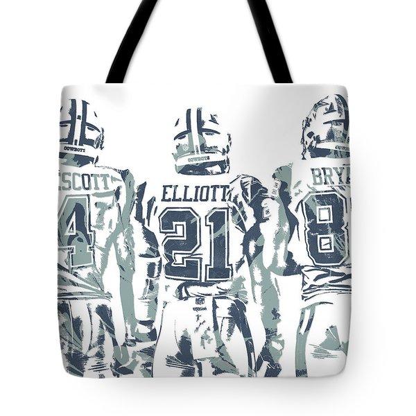 Dez Bryant Ezekiel Elliott Dak Prescott Dallas Cowboys Pixel Art Tote Bag