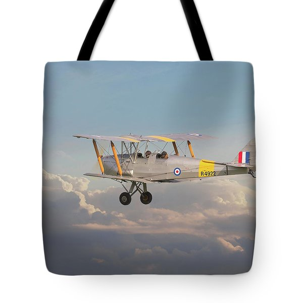 Tote Bag featuring the digital art Dh Tiger Moth - 'first Steps' by Pat Speirs