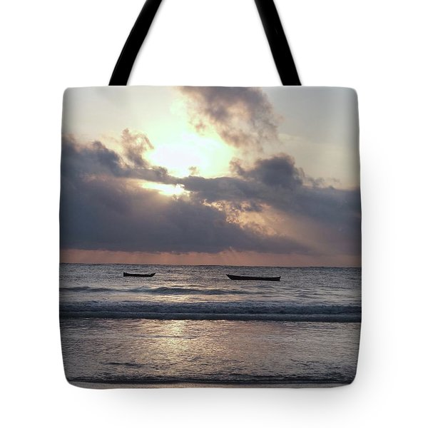 Dhow Wooden Boats At Sunrise 1 Tote Bag