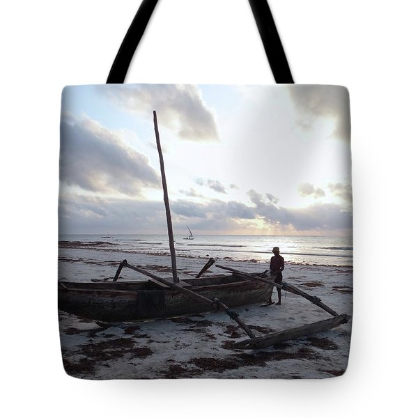 Dhow Wooden Boats At Sunrise With Fisherman Tote Bag