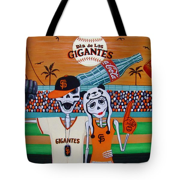 Tote Bag featuring the painting Dia De Los Gigantes by Evangelina Portillo