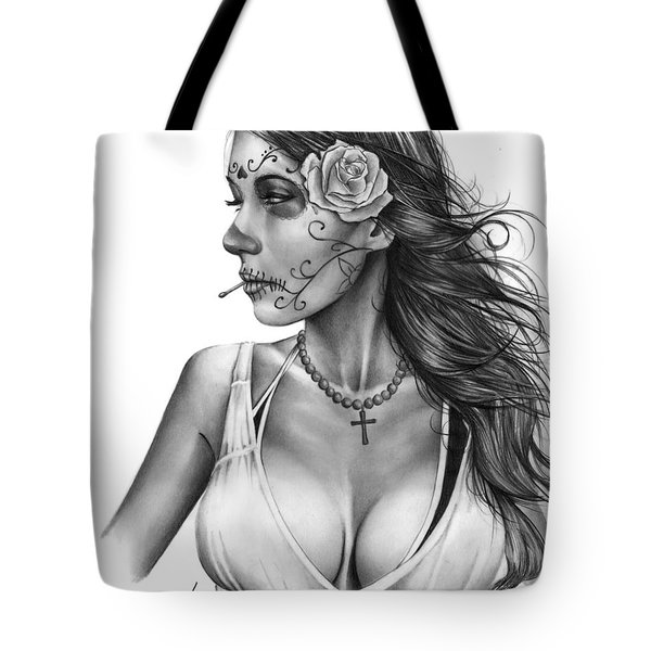 Tote Bag featuring the drawing Dia De Los Muertos 1 by Pete Tapang