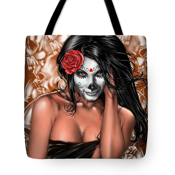 Tote Bag featuring the painting Dia De Los Muertos Remix by Pete Tapang