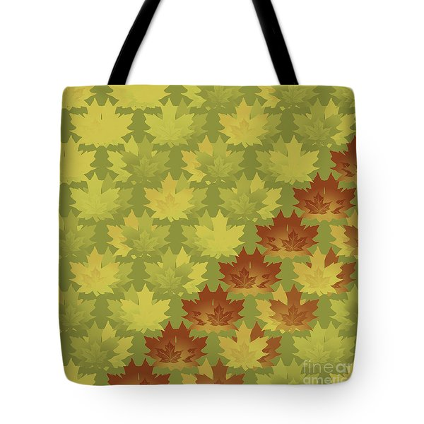Tote Bag featuring the digital art Diagonal Leaf Pattern by Methune Hively