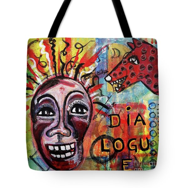 Dialogue Between Red Dawg And Wildwoman-self Tote Bag