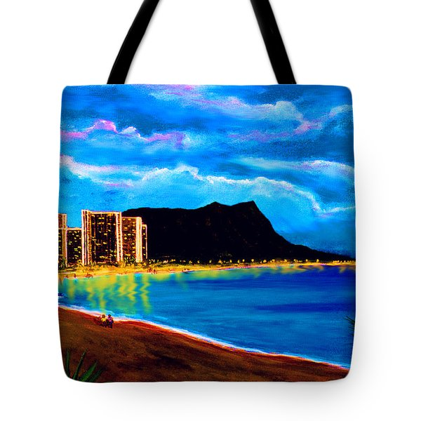 Diamond Head And Waikiki Beach By Night #92 Tote Bag by Donald k Hall