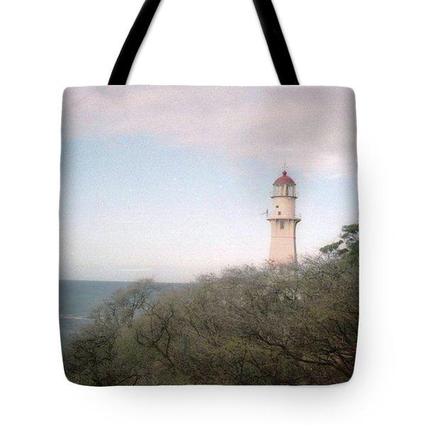 Diamond Head Light House Tote Bag by Ted Pollard