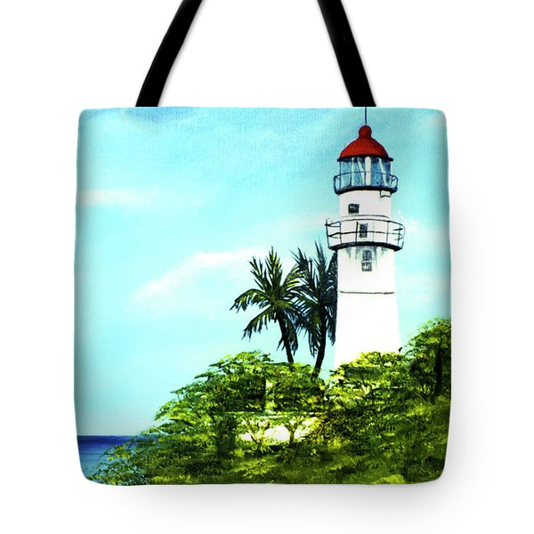 Diamond Head Lighthouse #10 Tote Bag by Donald k Hall