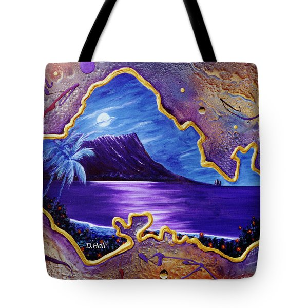 Diamond Head Moon Oahu #141 Tote Bag by Donald k Hall