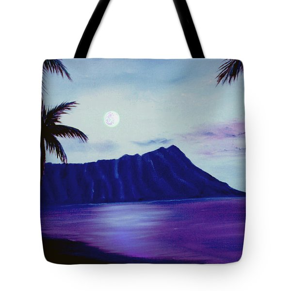 Diamond Head Moon Waikiki #34 Tote Bag by Donald k Hall