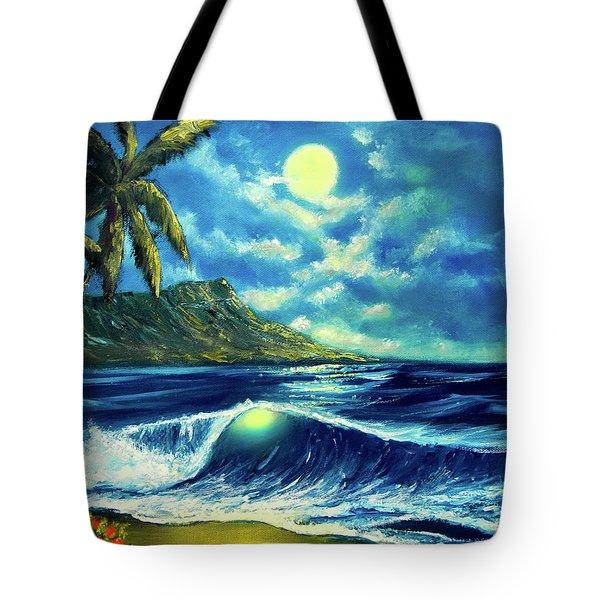 Diamond Head Moon Waikiki Beach #407 Tote Bag by Donald k Hall