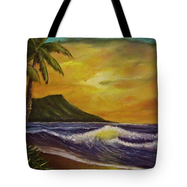 Diamond Head Sunrise Oahu #414 Tote Bag by Donald k Hall