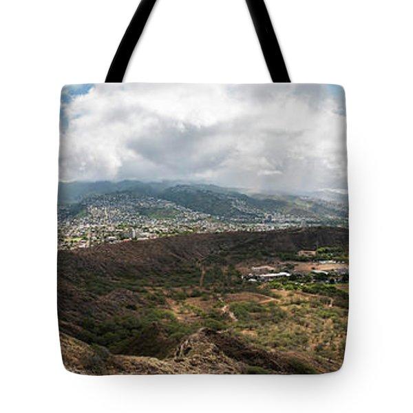 Diamond Head View Panoramic Tote Bag