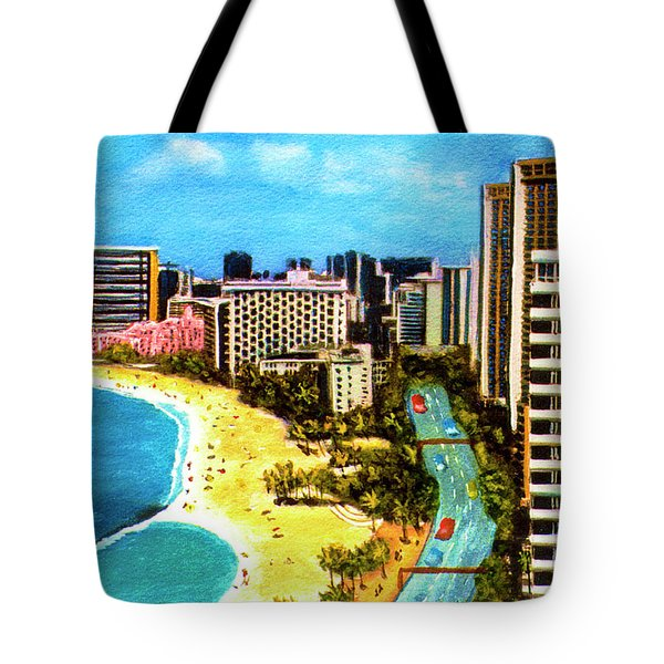 Diamond Head Waikiki Beach Kalakaua Avenue #94 Tote Bag by Donald k Hall