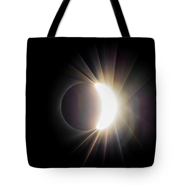 Tote Bag featuring the photograph Diamond Ring With Flare During Solar Eclipse by Lori Coleman