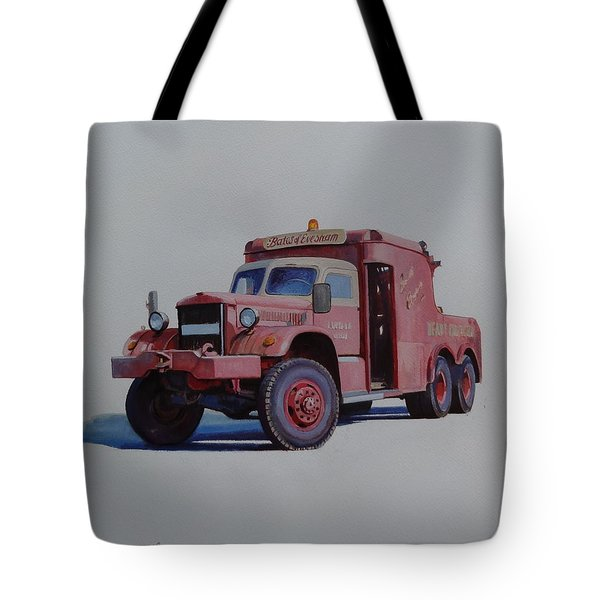 Tote Bag featuring the painting Diamond T Wrecker. by Mike Jeffries