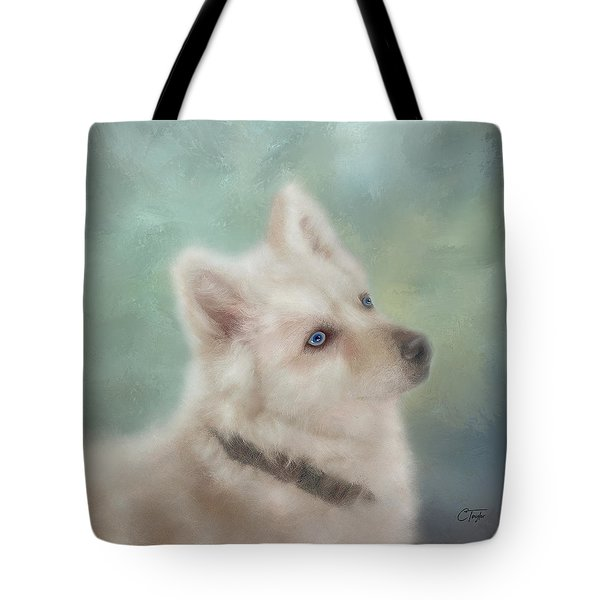 Tote Bag featuring the mixed media Diamond, The White Shepherd by Colleen Taylor