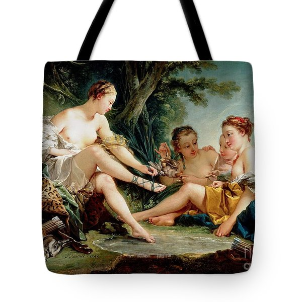 Tote Bag featuring the painting Diana After The Hunt by Pg Reproductions