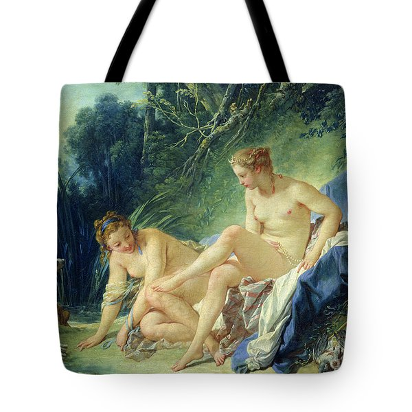 Diana Getting Out Of Her Bath Tote Bag by Francois Boucher