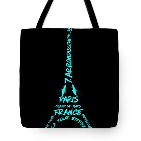 Digital-art Eiffel Tower Cyan Tote Bag