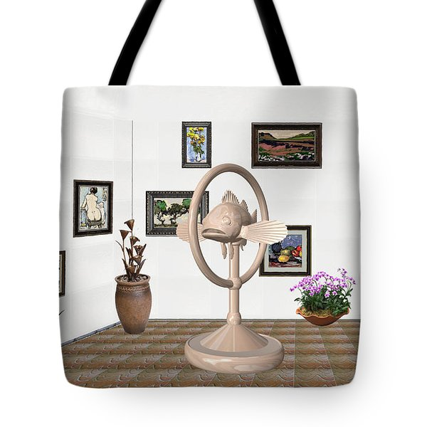 digital exhibartition _ Statue of fish 3 Tote Bag