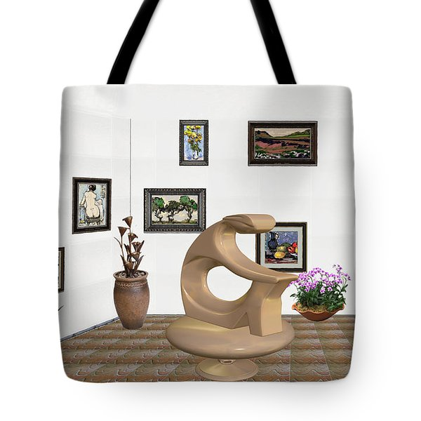 Tote Bag featuring the mixed media digital exhibitartion _Statue of  girl by Pemaro