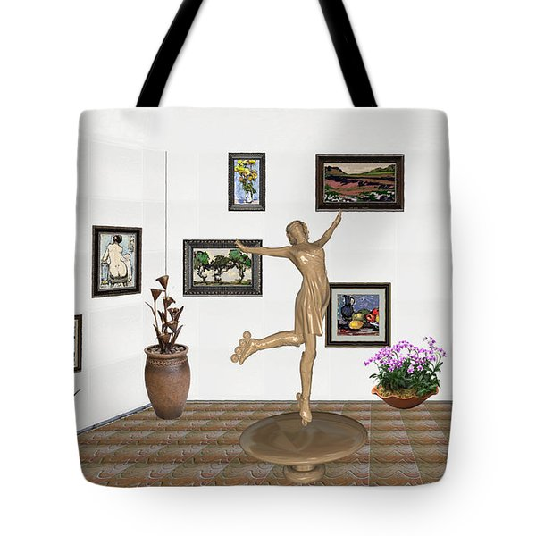 Tote Bag featuring the mixed media digital exhibition _ A sculpture of a dancing girl 11 by Pemaro