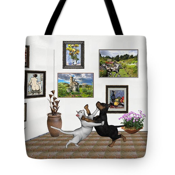 Tote Bag featuring the mixed media Digital Exhibition _ Dancing Lovers by Pemaro