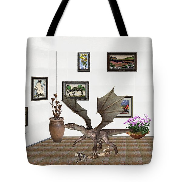 digital exhibition _ Dragon and snake Tote Bag by Pemaro