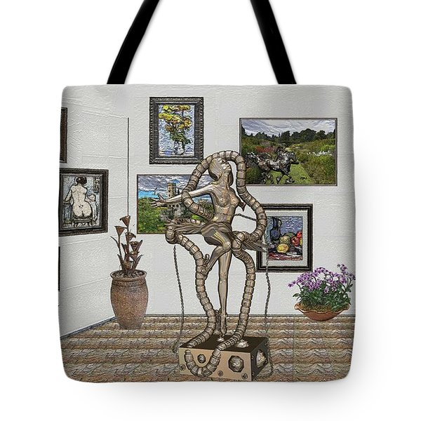 Tote Bag featuring the mixed media Digital Exhibition _ Modern  Statue 1   Of Dancing Girl by Pemaro