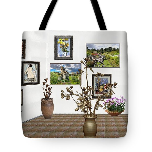 Tote Bag featuring the mixed media digital exhibition _ Modern Statue of Modern statue of branches by Pemaro