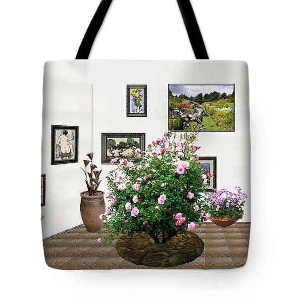 Tote Bag featuring the mixed media Digital Exhibition _ Roses Blossom 22 by Pemaro