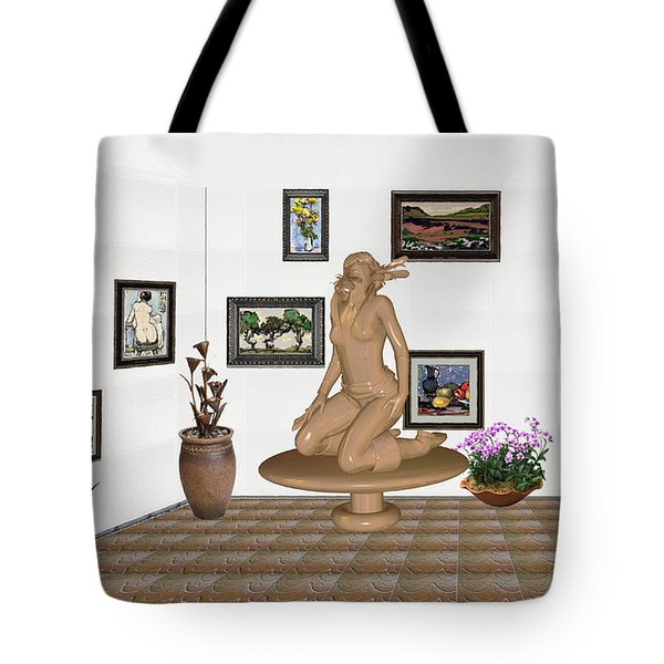 Tote Bag featuring the mixed media digital exhibition _ Sculpture 9 of girl  by Pemaro